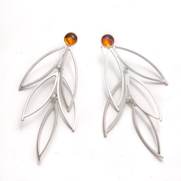 Three Tier Open Leaf Earrings with Amber sterling silver