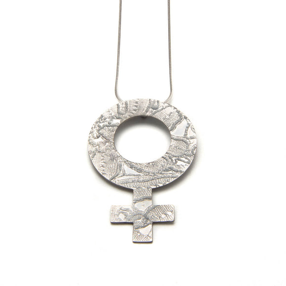 Lacy Woman's Symbol Necklace white silver