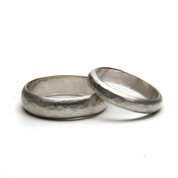 Ball Peen Hammered and Brushed Ring Set