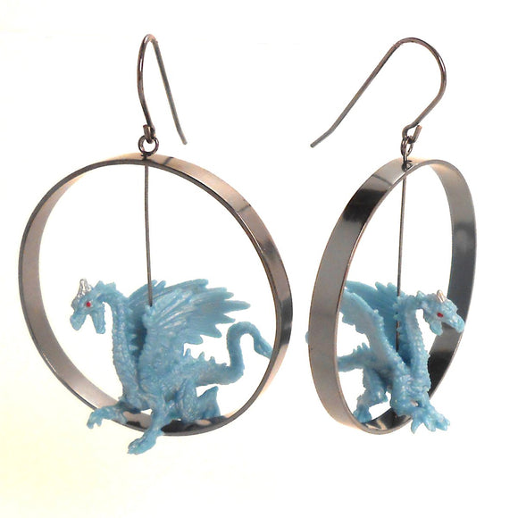 Toy Dragon in Silver Hoop Earrings, sterling, plastic, rubber