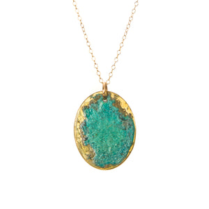 Green Patina Oval Necklace