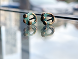 Brass Stud Earrings with Patina