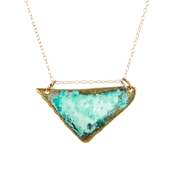 Triangle Green Patina Necklace brass gold-fill