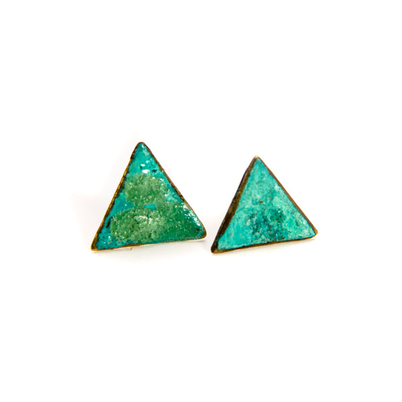 Patinated Triangle Earrings brass
