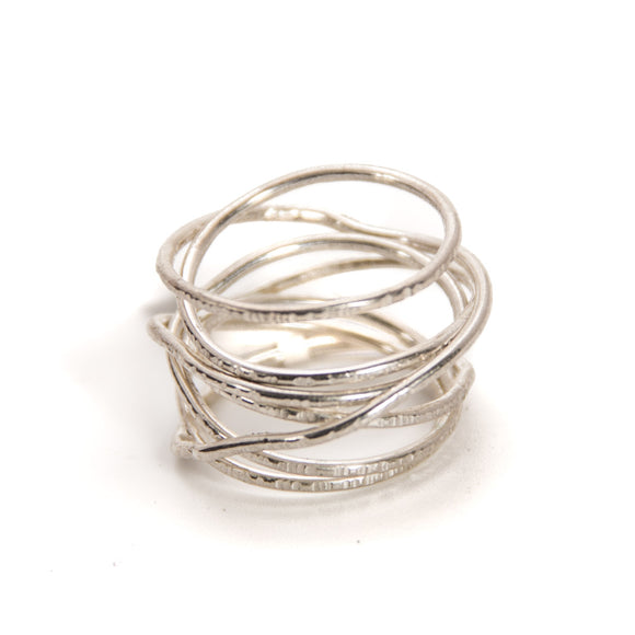 Hammered Silver Coil Ring