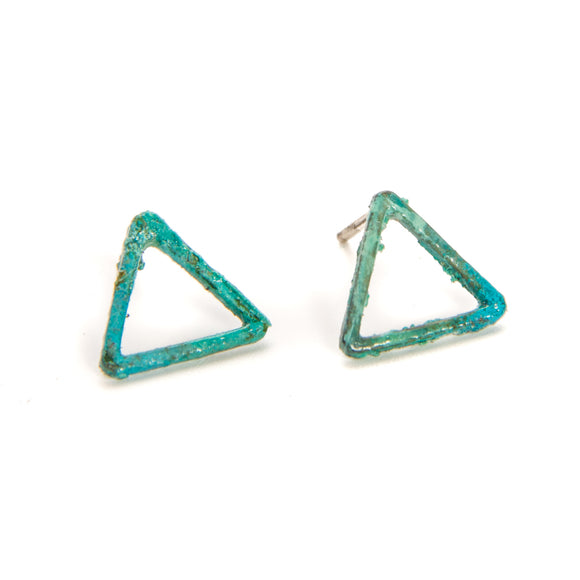 Patinated Open Triangle Earrings