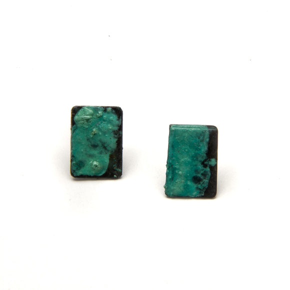 Green and Black Brass Earrings