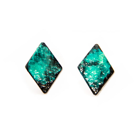 Patinated Brass Diamond Earrings