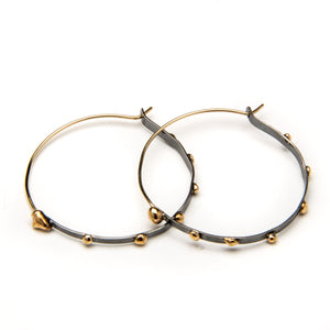Studded Silver and Bronze Hoop Earrings