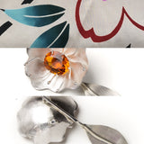 Juan Reyes - Lily of the Valley Brooch yukata jewelry show silver and citrine shawl pin