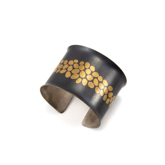 Oxidized Sterling Silver and 24K Gold Wide Cuff Bracelet with Pebble Pattern