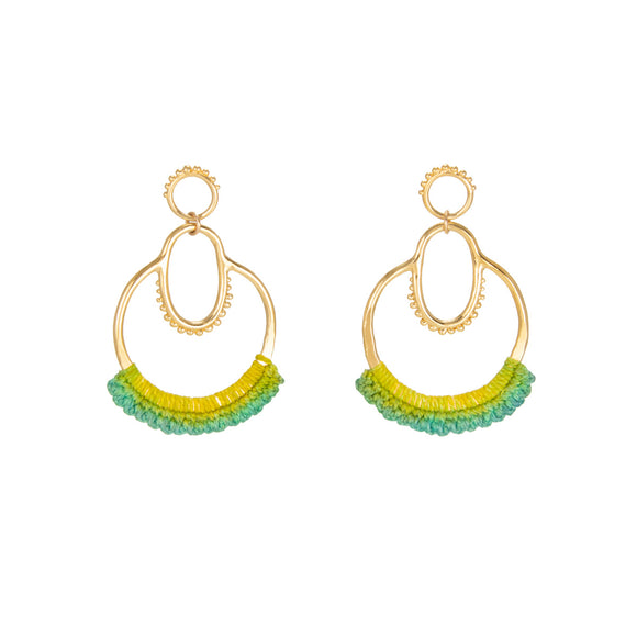 Suna Mermaid Green Earrings, brass, cotton lace, 14k gold plating