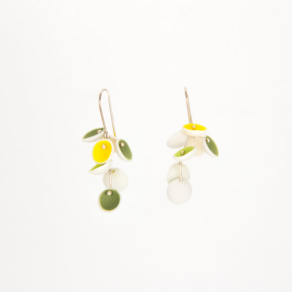 White, Yellow, and Green Porcelain Earrings