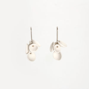 Short White dangle Cluster Porcelain Earrings