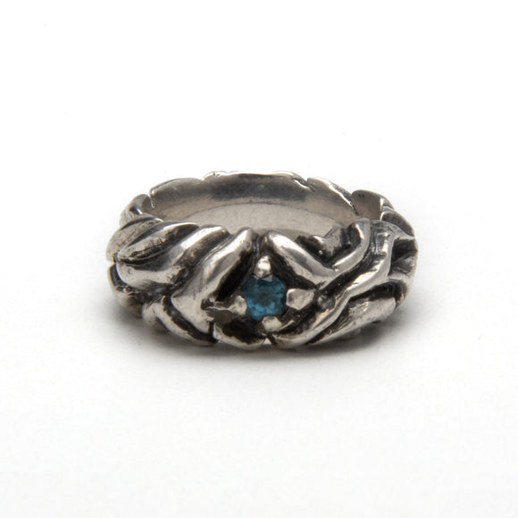 Curve Form Ring with Aquamarine
