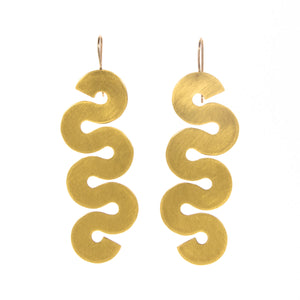 """Mid Squig"" Brass Earrings"