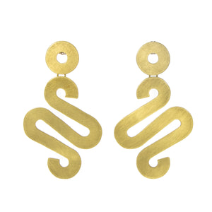 """Suzette"" Brass Squiggle Earrings powder coat hinged to swing lightweight"