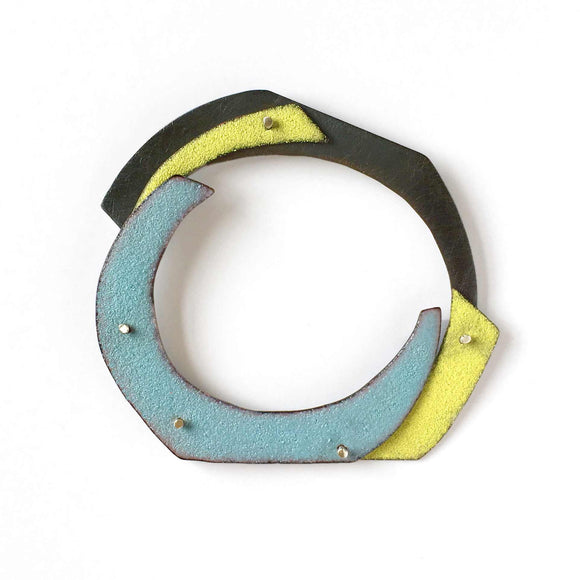 Enameled Brooch, sterling silver, copper, enamel