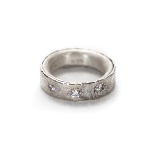 Reticulated Silver Band Ring with Cubic Zirconia