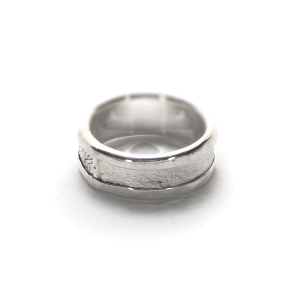 Wide Reticulated Silver Ring