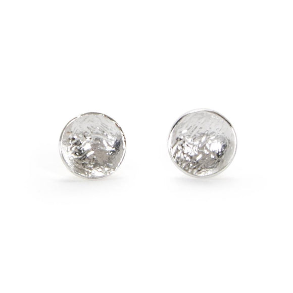 Reticulated Silver Disc Earrings