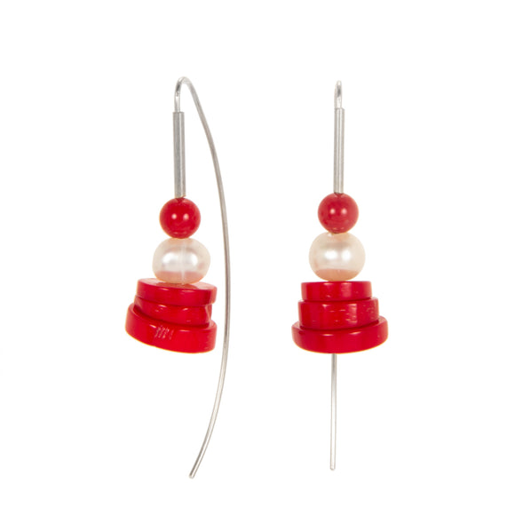 Stacked Coral Disc Earrings