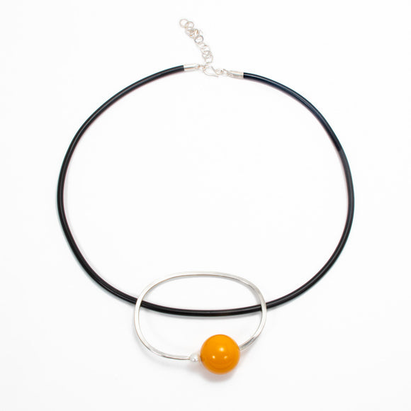 Mustard Bakelite Necklace silver pearl