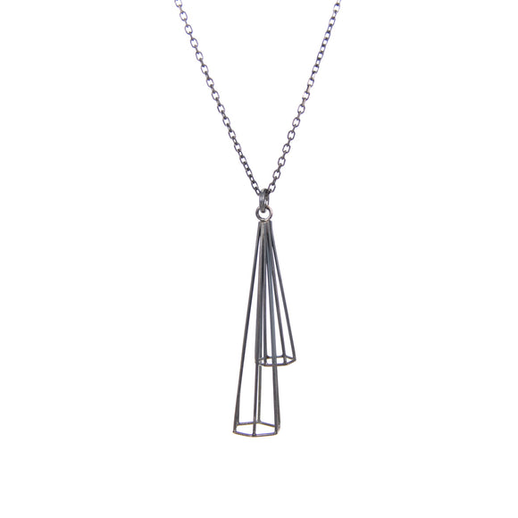 Spire Duo Pendant in Oxidized Silver sterling