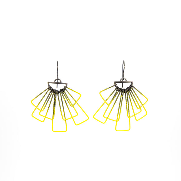 Yellow Deco Earrings in Steel painted steel
