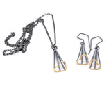 Heart Spire Earrings in Silver and 14k Gold sterling