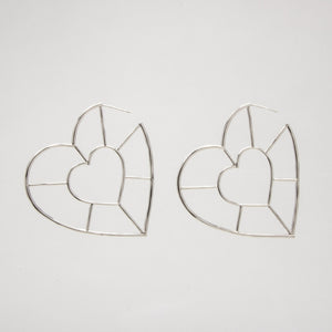 Double Heart Hoop Earrings in Silver