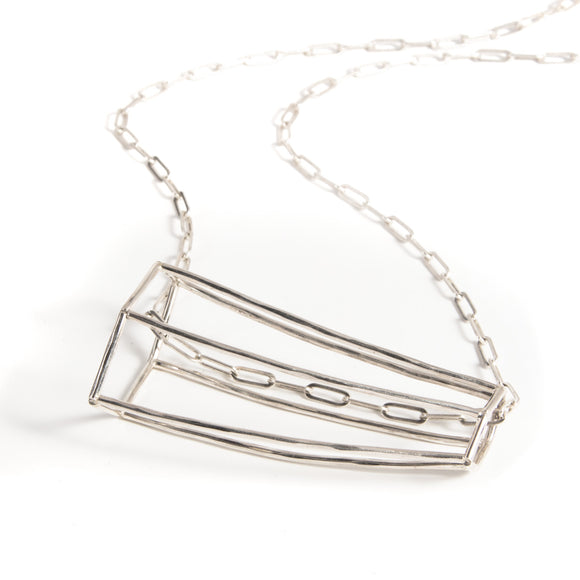 Structure necklace in silver