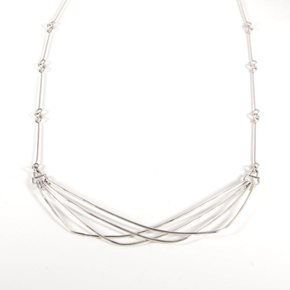 Wide Sway necklace with handmade silver chain