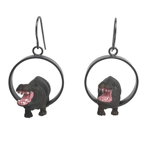 Hippopotamus Earrings in Sterling Silver