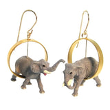Elephants in Gold Vermeil Circle Earrings