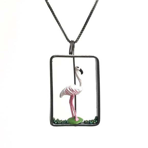 Flamingo Necklace in Sterling Silver