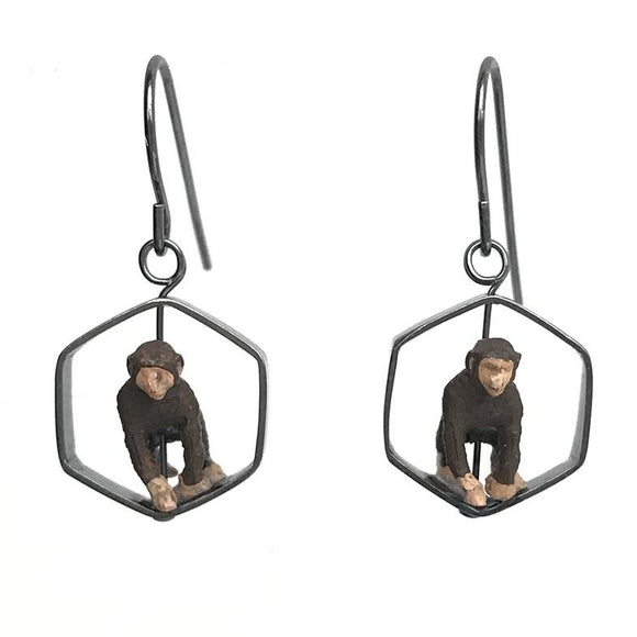Chimp Earrings in Sterling Silver