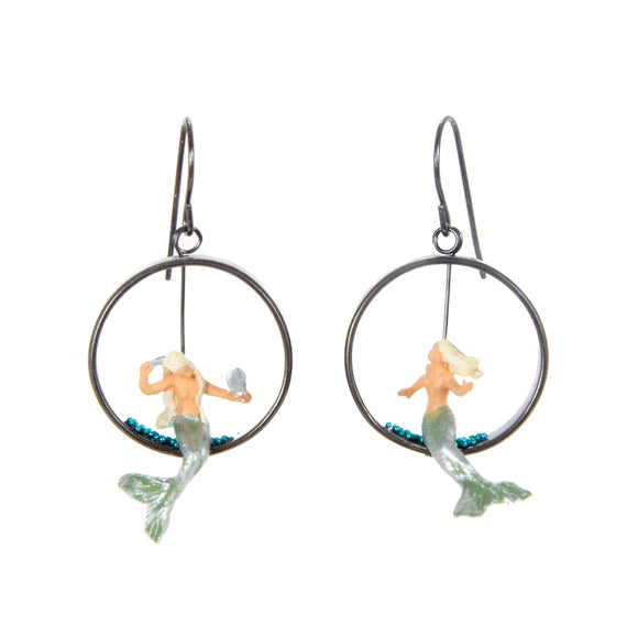 Mermaid Earrings silver plastic toy