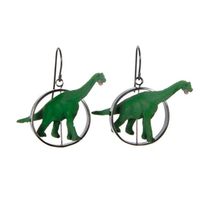 Brontosaurus Earrings silver plastic toy