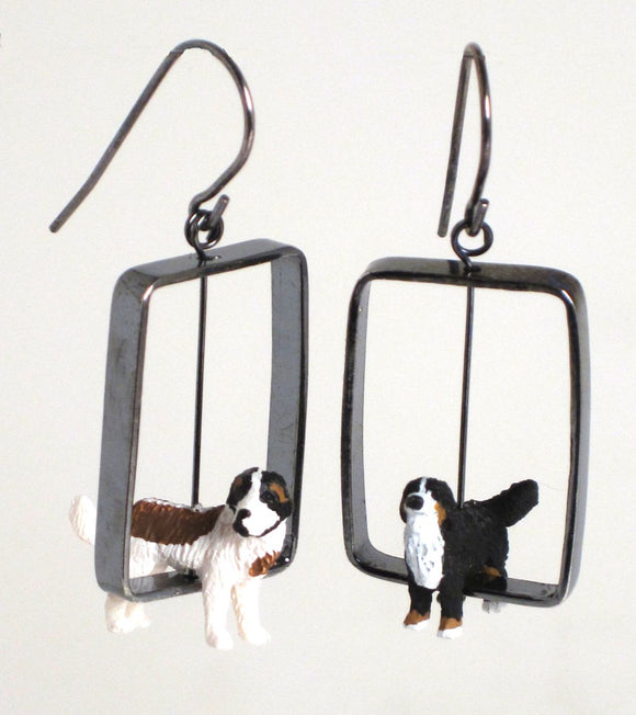 Toy Dog Earrings in Silver, sterling, plastic