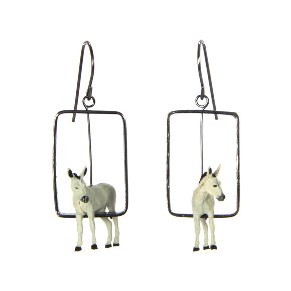 Donkey Earrings silver plastic toy