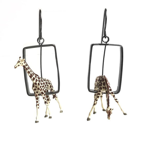 Giraffe Earrings in Sterling Silver
