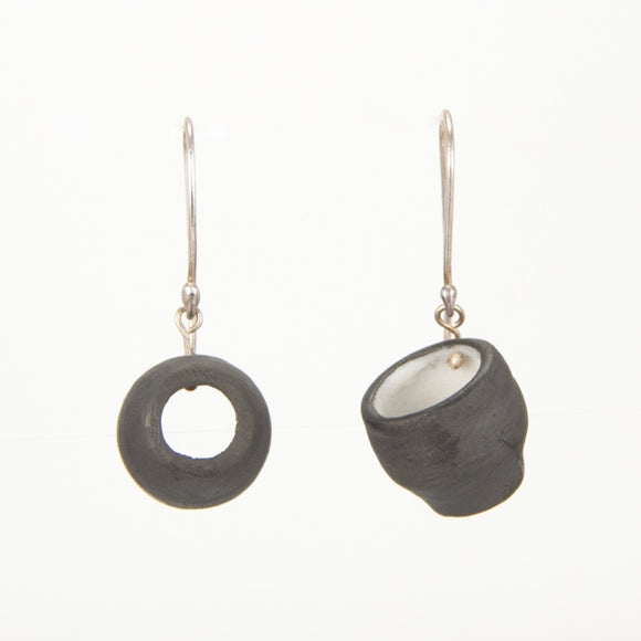 Black and White Porcelain Cup Earrings