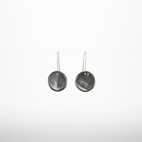 Black and White Porcelain Disc Earrings