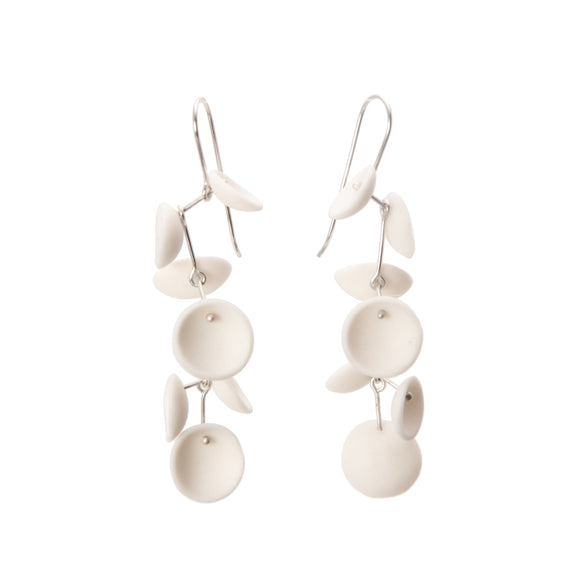 Long White Cluster Porcelain Earrings