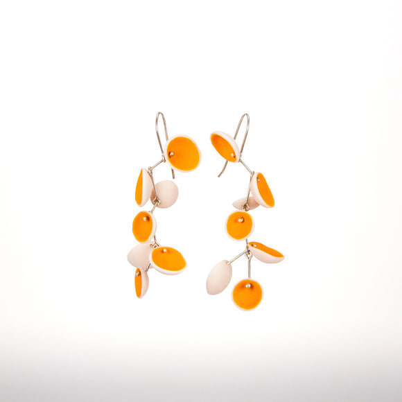 Orange Porcelain Cascade Pod Earrings