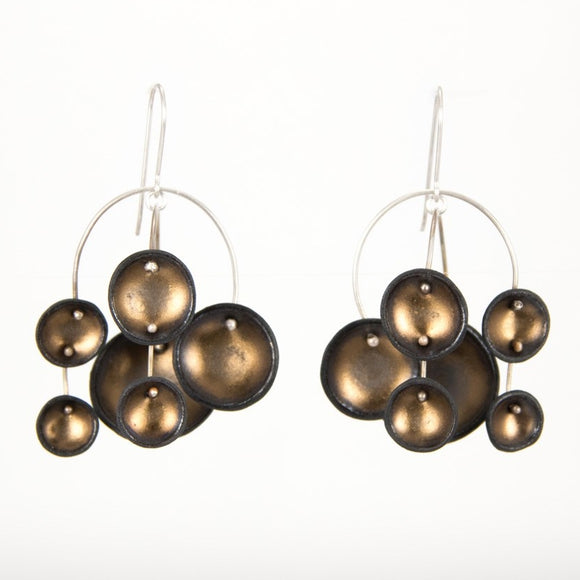 Porcelain Black and Gold Chandelier Earrings