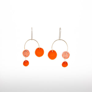 Orange Porcelain Chandelier Earrings
