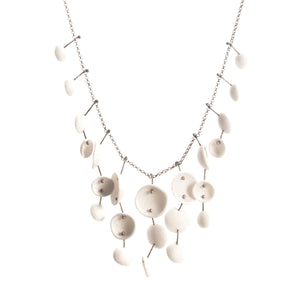 Porcelain Pod Necklace white silver