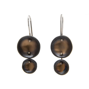 Gold Sheen Black Porcelain Earrings
